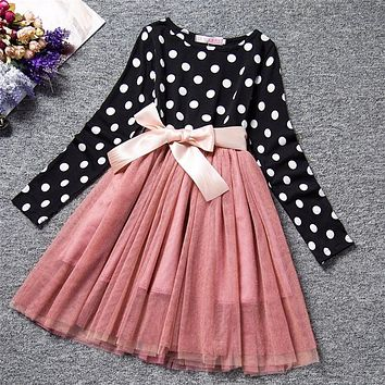 Princess Winter Dress Girl Baby Kids Vestidos Polka Dots Kids Party Costume For Girls Children Casual Clothing Size 3 To 8 Years