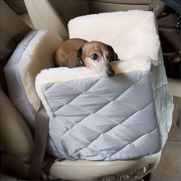 Snoozer Pet Dog Cat Puppy Outdoor Lookout I Portable Car SUV Secure Safety Seat Medium Khaki Quilt