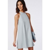 Missguided - Crepe Halter Swing Dress Powder Blue