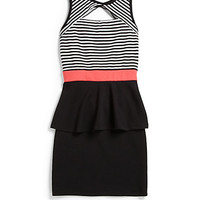 Girl's Striped Peek-A-Boo Peplum Dress