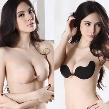 Women Sexy Push Up Bra Front Closure Self-Adhesive Silicone Seamless Strapless Invisible Bra
