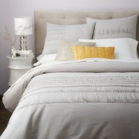 Applique Ruffle Stripe Duvet Cover + Shams - Platinum