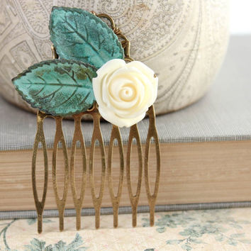 Floral Hair Comb, Ivory Cream Rose, Verdigris, Jade Green Leaf, Teal Blue, Patina Leaves, Hair Accessories, Antique Brass, Metal Comb