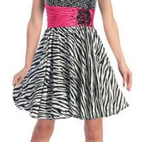 Wild Short Dress Formal Sequin Bodice Sweet 16 Party Dance Gown Fun Zebra Print