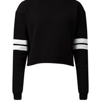 Black Striped Long Sleeve Cropped Sweater