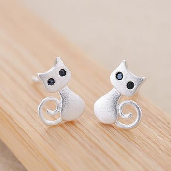 Hipster Fashion 925 Sterling Silver Cute Cat Kitten Stud Earrings For Women Lively Personalized Animal Korean Style S925 Jewelry