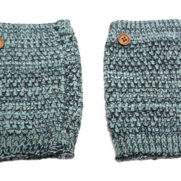 Women's Mint Green Mix Popcorn Pattern Crochet Knit Button Boot Cuffs, Boot Toppers, NEW COLORS, gift