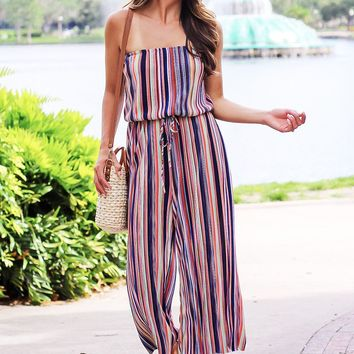 Find Me Under The Rainbow Striped Strapless Jumpsuit (Multi)