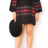 Black Tartan Plaid Tunic/Mini Dress