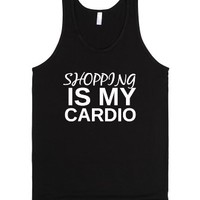 ::Shopping is my cardio::-Unisex Black Tank