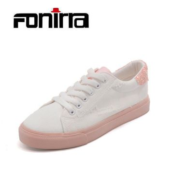 FONIRRA Women Bling Canvas Shoes White Pink Casual Lace Up Shoes for Ladies Preppy Sho