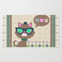 Hipster Boy Kitty Cat   Area & Throw Rug by Cool Cat Creative