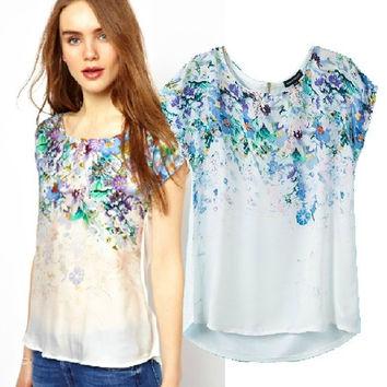 Summer Women's Fashion Vintage Gradient Print Mosaic Short Sleeve Chiffon Tops T-shirts [6047581057]