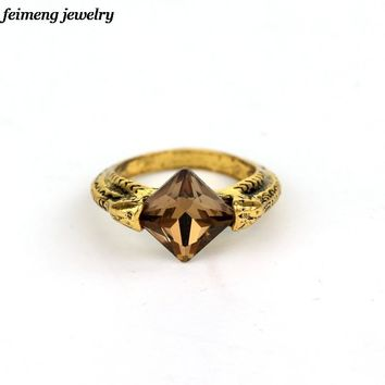Best Friend Vintage Antique Bronze Crystal Resurrection Stone Cocktail Ring Movie Men Deathly Hallows Finger Rings