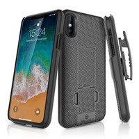 WizGear Slim Shell Holster Combo Case for Apple iPhone X. KickStand, Belt Clip