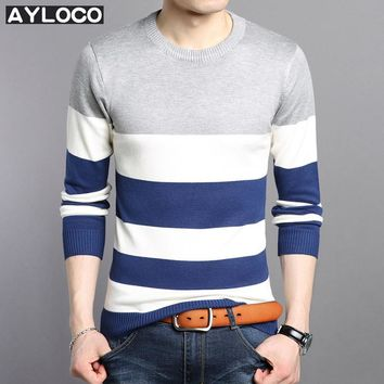 2017 Brand Clothing Mens Sweaters Pullovers Knit Slim Regular Striped Letter Pattern Basic Sweaters Youth