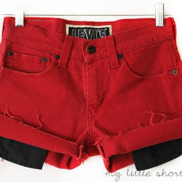 Mid-Rise Red Denim Levi's Shorts (Size 28)