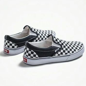 Vans Old School Popular Men Casual Checkerboard Pattern Canvas Flats Sneakers Sport Shoes I-CY-MN