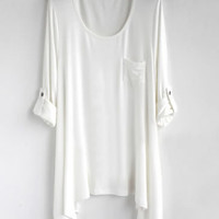 *Free Shipping* Women Cotton White Loose Top HT10000w from efoxcity