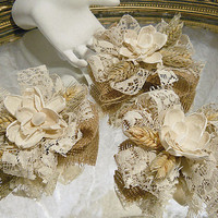 Set of 3 Country Cake Toppers, Bows or Corsages, handmade of burlap, ivory lace, solar flowers & wheat. Ready to Ship!