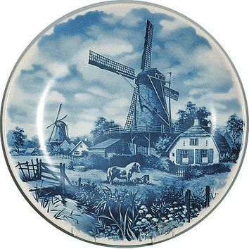 Souvenir Plate Mill with Pony Blue