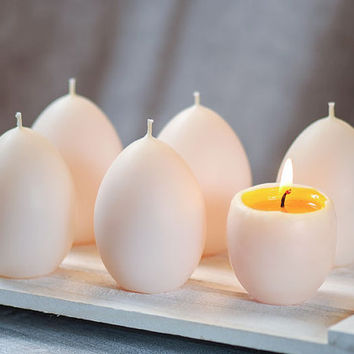 6 Egg Candles - Soft Boiled Eggs - Set of 6 Unscented Candles for Home Decor - Handmade Candles