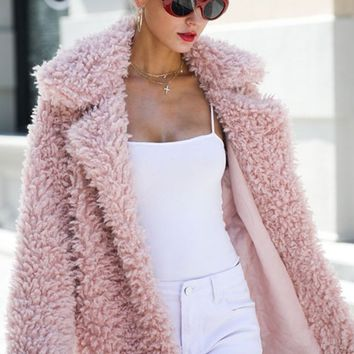 Winter Fantasy Pink Fluffy Soft Faux Teddy Fur Long Sleeve Open Outerwear Collar Coat