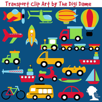 Digital Scrapbooking Elements/Clip Art: Transport Cars, Bicycle, Aeroplanes, Ships, and more in Bright Colors