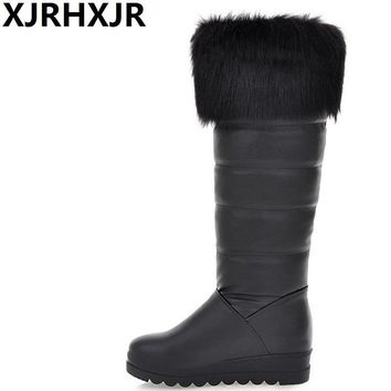 XJRHXJR Popular Knee High Snow Boots Women Fashion Winter Fur Plush Warm Boots Flat Heel Ladies Pu Leather Warm Shoes Large Size