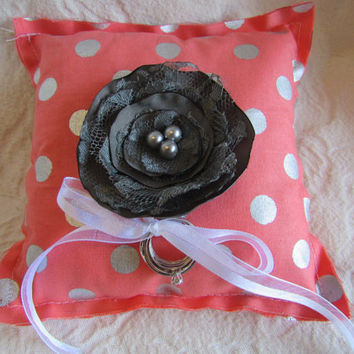 Coral and Silver Polka Dot Fabric Wedding Ring Pillow with Charcoal Gray Satin Fabric FLower Silver Gray Pearls