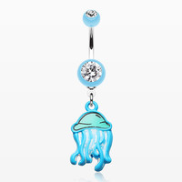 Jelly Fish Attack Belly Button Ring
