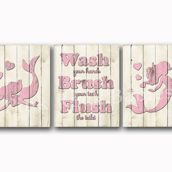 Bathroom Wall Art Wood Decor Kids Bath Artwork Pink Mermaid Rules For Children Brush