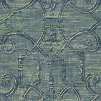 Sample of Distressed Scrollwork Wallpaper in Blues and Metallic design by Seabrook Wallcoverings