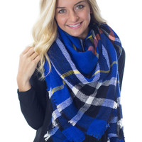 Cuddle Me by the Fire- Royal Blue Blanket Scarf