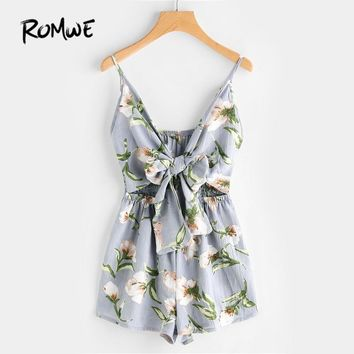 ROMWE Floral Print Cut Out Knot Front Cami Romper Summer Womens Romper Hollow Out Sleeveless V Neck Sexy Romper