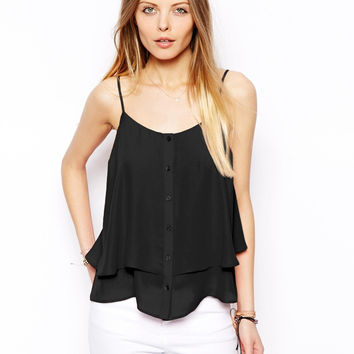 Spaghetti Strap Button Front Chiffon Layer Top