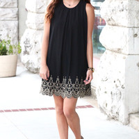Golden Embroidery Scalloped Shift Dress {Black}