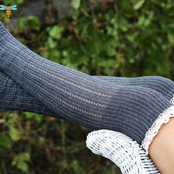 Legwarmers - 100% Cotton, Knee High, Knitted,  Gray, Charcoal, Boot Cover, Socks, Thick, Crochet, Lace Trim, Christmas Gift,