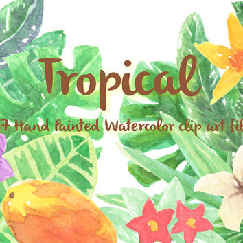 Tropical Floral Watercolor ClipArts Scrapbook Digital Files Download Wedding Invitation Purple Violet Leaves Flowers Wreath Printable Yellow