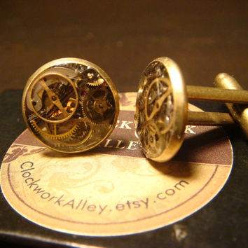 Steampunk Cuff Links Mens Accessories Handmade with Gears and Watch Parts (1534)