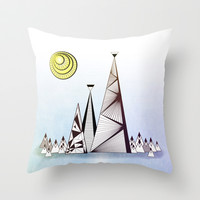 Geometric Mountains Throw Pillow by RunnyCustard Illustration