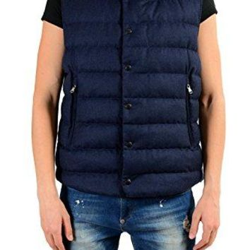 Moncler Men's Wool Down Full Zip Blue Vest with Detachable Hood Size 5 US XL