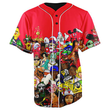 Hip Hop Collage Red Button Up Baseball Jersey
