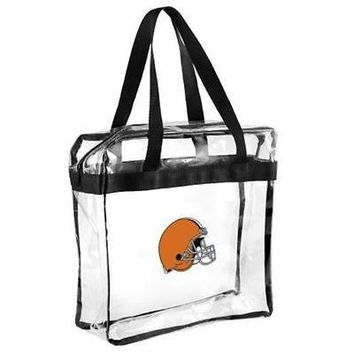 NFL Cleveland Browns Clear Plastic Zipper Tote Bag NFL 2017 Stadium Approved