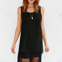 Silence + Noise Step-Hem Tank Dress- Black