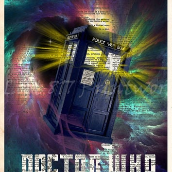 Doctor WHO TARDIS, TARDIS art print, Doctor Who art print, Dictionary print art