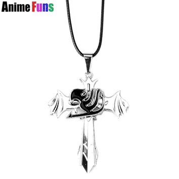 Anime Fairy Tail Choker Necklace for women man Logo can rotatable Pendant Charm Cosplay Jewelry Birthday Gift drop-shipping