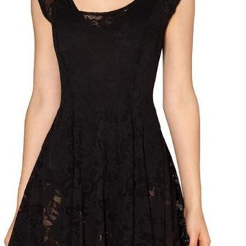 Casual Sexy Women Dress Little Black Pleated Transparent Lace Dress Vestidos Casual Roupas Vestidos Femininos