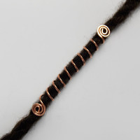 Viking Hair long Cuff Coil, Hand Hammered Copper, loc Cuff, Dread Beads, Dreadlocks Beads, Copper Dreadlock, Hair Accessories, IvoStyleLine