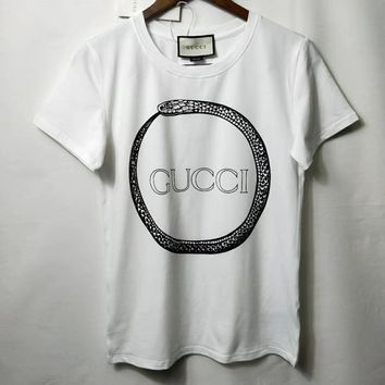"""Gucci"" Unisex Lover Casual Fashion Personality Snake Letter Print Short Sleeve T-shirt Top Tee"